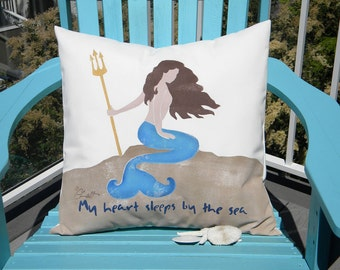 "Outdoor pillow mermaid My HEART SLEEPS by the SEA 20"" painted beach coastal ocean merpeople sea siren outdoor Crabby Chris Original"