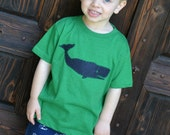 SALE Boys Preppy Whale Shirt in Navy on Vintage Green Tee