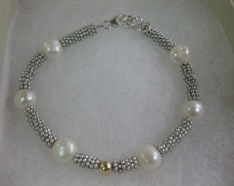 Sterling Silver  Bracelet with Freshwater Pearls and 14k Gold Accent