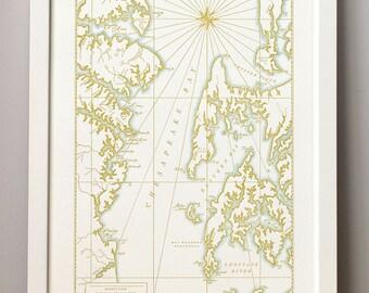 Chesapeake Bay, Maryland, Letterpress Map Print