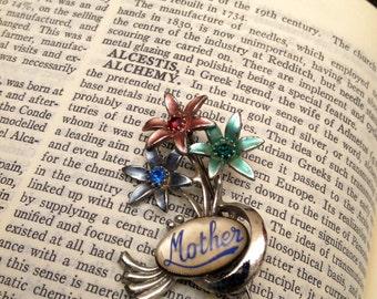 Vintage Silver Enamel Flower Cluster Steel Brooch 'Mother'