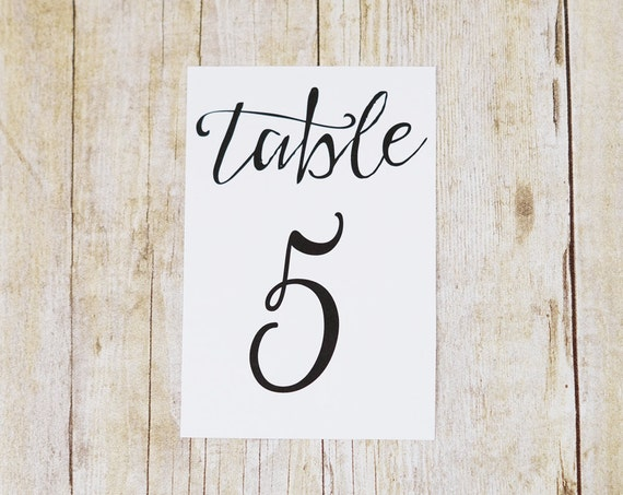 4x6 table number cards printed modern script wedding by for Table th font color