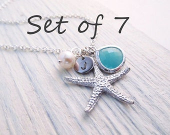 Beach Wedding Jewelry Set of 7 -- Starfish Necklace, Beach Necklace, Personalized Bridesmaid Gift,  Bridal Party Jewelry, Custom Color