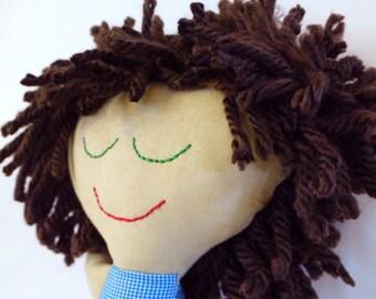 Boy Rag Doll.  Cute brown Hair & green eyes.  Ready to Ship. OOAK. baby doll. rag doll. ethnic dolls.  handmade.  Brown hair. doll for boys