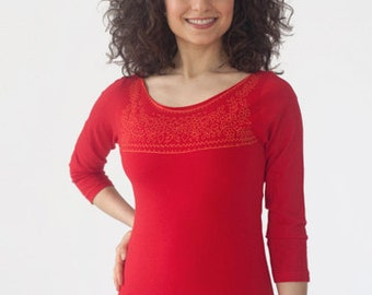 Women's Boat Neck 3/4 Sleeve Shirt with Screenprinted Mexican Embroidery in Red/Orange, Cotton T-Shirt, Casual Wear, Bohemian Style