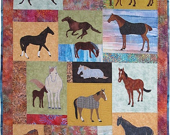 Just Horses 2, Machine Applique Pattern by Debora Konchinsky, Critter Pattern Works