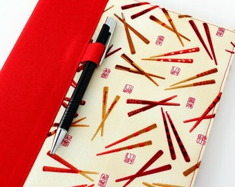 Reusable cover for composition notebooks, composition notebook cover, fabric notebook cover, teacher gifts, includes pen - Chopsticks