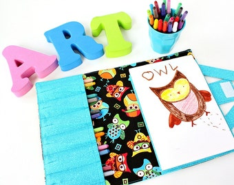 Blue Owls Crayon Artist Case, Ready to ship, Coloring wallet, Crayon wallet, Art tote, Art wallet, Travel toy, Crayons and paper included