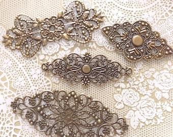 Assorted Vintage Bronze Filigree Connectors