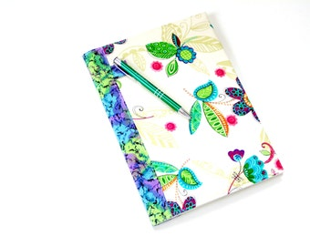 Composition journal, colorful flowers fabric covered notebook with pen holder,  reusable ecofriendly,  back to school