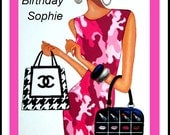Fashion girl pink camoflage dress Lulu Guinness Chanel bags Personalised Card Christmas Birthday 7 x 5 inches from art