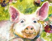 Happy as a Pig in a Posey Patch Art Print by Maure Bausch