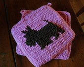 Scotty Dog Potholders - Scottish Terrier Potholders - Pink and Brown Crochet Pot Holders, Hot Pads, Trivet Set of Two