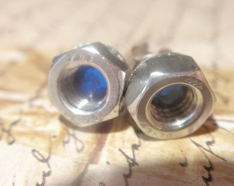 Hex Nut Earrings w Sapphire Blue crystal Small Stainless Steel  size SM5