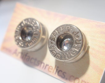 Bullet Jewelry Earrings  - 9mm Stud w Clear Diamond gem Bullet Jewelry Stud style earrings Nickel plated silver