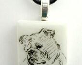 English Bulldog on a White Porcelain Tile Pendant