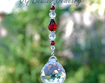 Ladybug Crystal Suncatcher, Rear View Mirror Car Charm, Ladybug Window Sun Catcher, Home Decor, Car Accessories, Rainbow Prism