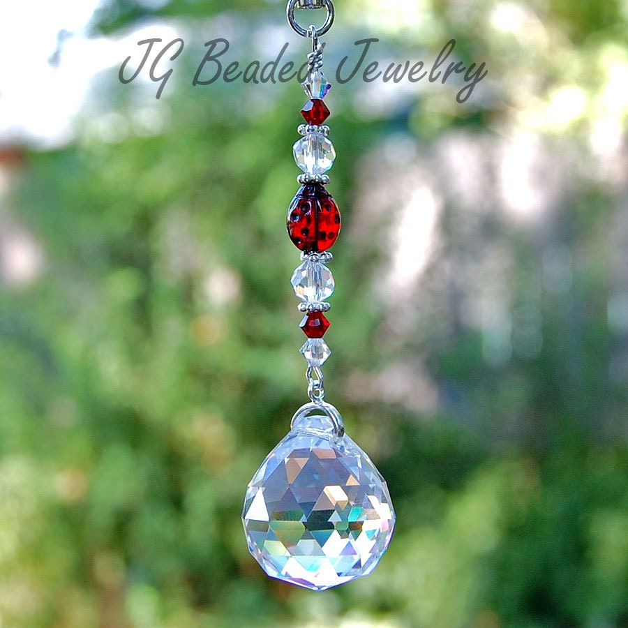 Ladybug Crystal Suncatcher Rear View Mirror Car Charm