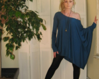 Asymmetric Boxy Top Off Shoulder Sweater OverSize Tee Long Sleeved Tunic - XSmall - XLarge - Rayon/Spandex Jersey (More Colours)
