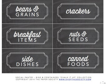 "Chalkboard ""Bins and Containers"" Pantry Labels Collection - Printable PDF - Chalk it Up"