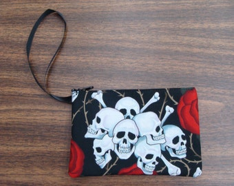 US Handmade Electronic Device Clutch Purse , Pouch , Wristband With  Cute Skulls Red Roses Pattern Makeup Bag , New