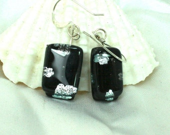 Artisan Dog Paw Fused Glass Earrings, Black and Silver,Dog Lovers, Dichroic Jewelry, Dichroic Glass, Glass Earrings, Dog Earrings, OOAK