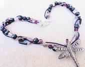 SALEHandmade Purple Dragonfly Beaded Necklace By Distinctly Daisy
