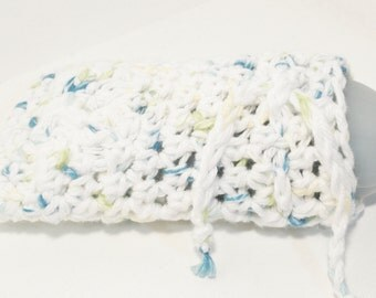 White and Blue Crocheted Soap Bag Soap Saver Cotton with Drawstring by Distinctly Daisy