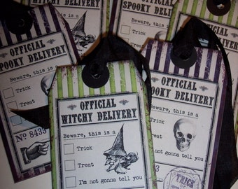 Official Witchy Delivery Tags Halloween Ephemera Tags set of 6