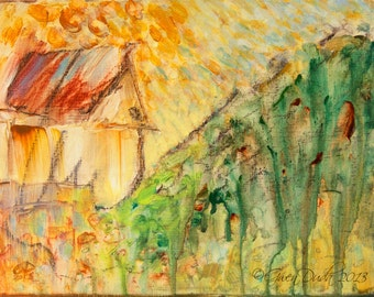 """Small Abstract Painting SFA Small Fine Art 8"""" x 10"""" Meadow Hill Cottage Contemporary Abstract  Landscape Art"""