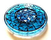 Etsy Mosaic Stained Glass Trivet Candle Holder Blue Beach Decor Spa Contemporary Mosaic Art Abstract Ocean Soothing Suncatcher