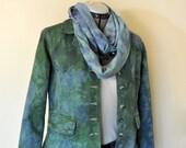 Blue Green Medium Cotton JACKET - Blue Green Hand Dyed Upcycled Relativity Denim Blazer Jacket - Adult Womens Petite Medium (38 chest)