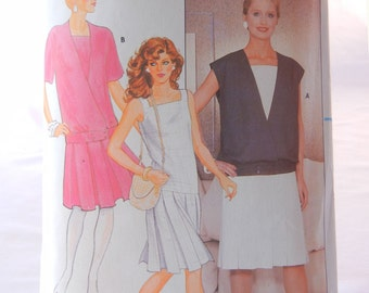 Dropped Waist Dress Pattern, with Dropped Waist Vest Jacket, Butterick 4906, Misses Size 8, 80s does 20s