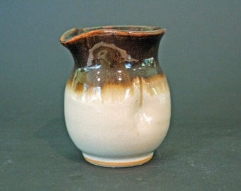 Pottery Pitcher, White Pitcher with Golden Brown, Maple Syrup Pitcher, Ceramics and Pottery