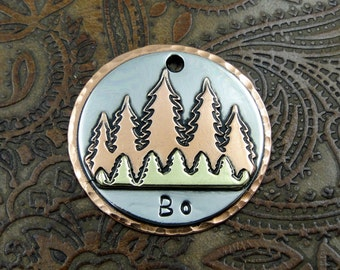 Custom Woods Dog ID Tag- Fun in the Woods Dog Collar Tag-Personalized Pet ID Tag-Handmade Dog ID Tag