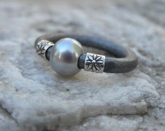 Pearl Sterling Silver Leather Gray Metallic Ring Urban Modern