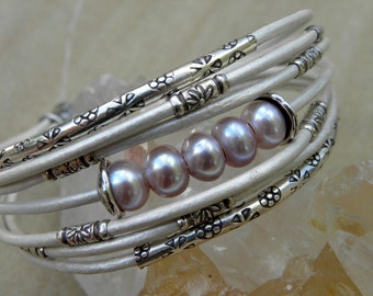 Sterling Silver Soft Pink Pearls and Pearl White Leather Bracelet Multiple Strands Bridal Wedding Winter Snow Holidays