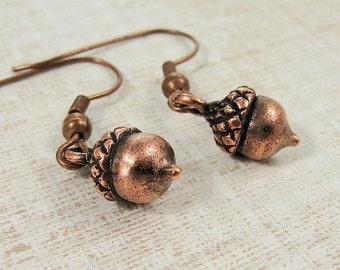 Tiny Acorn Earrings, Antique Copper Plated