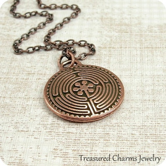 Labyrinth Necklace, Antique Copper Labyrinth Charm Necklace on a Copper Cable Chain