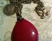 Blood Red Treasure Teardrop Agate on Antique Bronze Chain with Handmade Bail OOAK