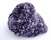 Hand Knit Infinity Scarf Indigo Fashion Chunky Loop Scarf Mini Cape