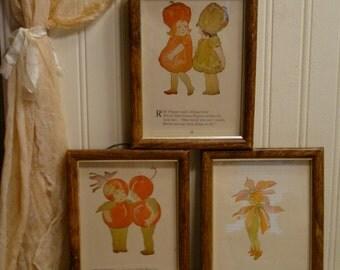 Vintage Flower Children - Framed Wall Art - Mid Century Home Decor - Nursery - Shabby Chic Framed Child Fairies