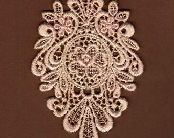 Hand Dyed Venise Lace Floral Medallion  Vintage Blush Latte