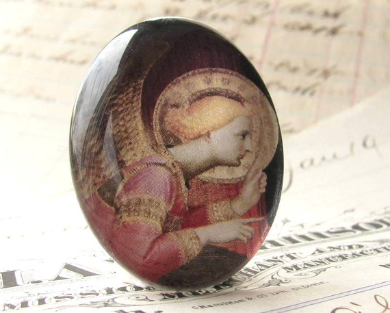 """Handmade """"Golden Angel"""" 40x30 mm glass oval cabochon, 40x30mm 30x40mm, rose pink, dusty red, faded red, Christmas, religious icon"""