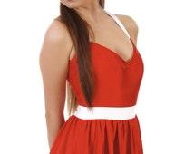 SALE NEW  Sandy Vintage Inspired Red and White Halter Swim Dress Sz Sml- 4XL
