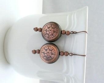 ndb-Copper Acrylic Beaded Dangle Earrings