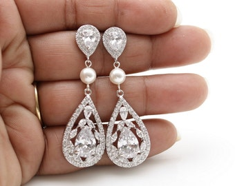 Crystal Bridal Earrings Crystal Wedding Jewelry Cubic Zirconia Pearl Tear Drops Bridal Jewelry Crystal Wedding Earrings, Esther