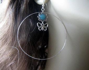 Large Hoop Earrings, Butterfly Hoop Earrings, Teal Hoop Earrings, Silver Hoop Earrings, Stained Glass, Butterfly Earrings, Butterfly Jewelry
