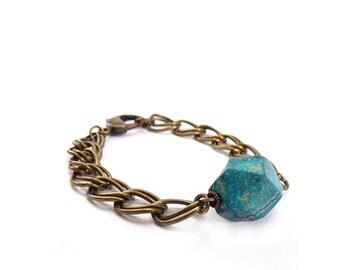 Geometric Turquoise Chain Bracelet - Jasper Stone Nugget - Stacking Layering Bracelet - Chunky Bronze Chain - Bohemian Bracelet