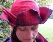 Felted Hat - Cherry Red and Peacock Blue - Wool